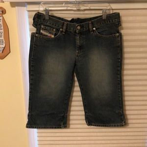 Diesel Jean Shorts With Cut Outs
